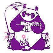 Vinilo Pandas Leyendo Un Cuento Morado, Rosado Medida G
