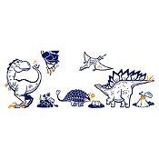 Vinilo Grupo dinosaurios Azul oscuro, naranja