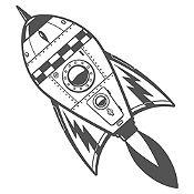 Vinilo Cohete Espacial Gris Oscuro Medida M