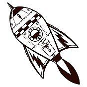 Vinilo Cohete Espacial Negro Medida G