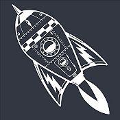 Vinilo Cohete Espacial Blanco Medida G