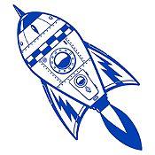 Vinilo Cohete Espacial Azul Medio Medida M
