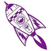 Vinilo Cohete Espacial Morado Medida M