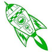 Vinilo Cohete Espacial Verde Claro Medida P