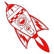 Vinilo Cohete Espacial Rojo Medida P