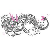 Vinilo Dragoncito Gris Oscuro, Rosado Medida P