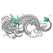 Vinilo Dragoncito Gris Oscuro, Menta Medida M
