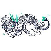 Vinilo Dragoncito Azul Oscuro, Menta Medida P