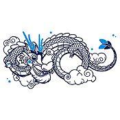 Vinilo Dragoncito Azul Oscuro, Azul Claro Medida M