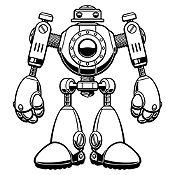 Vinilo Robot Negro Medida G