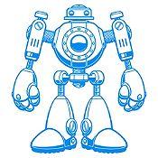 Vinilo Robot Azul Claro Medida M