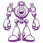 Vinilo Robot Morado Medida M