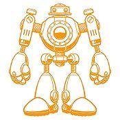 Vinilo Robot Naranja Medida P