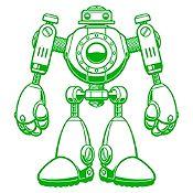Vinilo Robot Verde Claro Medida P