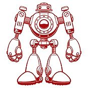 Vinilo Robot Vinotinto Medida P