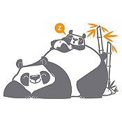 Vinilo Pandas Durmiendo Gris Oscuro, Naranja Medida M
