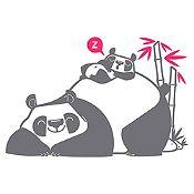 Vinilo Pandas Durmiendo Gris Oscuro, Fucsia Medida M