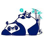 Vinilo Pandas Durmiendo Azul Oscuro, Menta Medida G