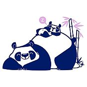 Vinilo Pandas Durmiendo Azul Oscuro, Lila Medida P