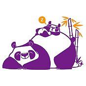 Vinilo Pandas Durmiendo Morado, Naranja Medida G