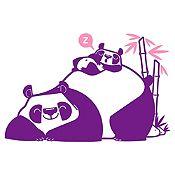 Vinilo Pandas Durmiendo Morado, Rosado Medida P