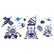 Vinilo Grupo monos espaciales Azul oscuro, azul claro