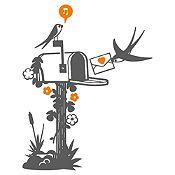 Vinilo Aves Y Cartas Gris Oscuro, Naranja Medida P