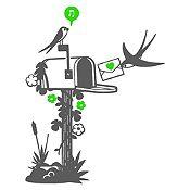Vinilo Aves Y Cartas Gris Oscuro, Verde Claro Medida M