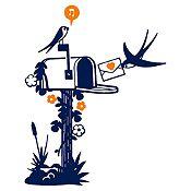 Vinilo Aves Y Cartas Azul Oscuro, Naranja Medida G