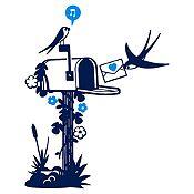 Vinilo Aves Y Cartas Azul Oscuro, Azul Claro Medida P