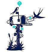 Vinilo Aves Y Cartas Azul Oscuro, Menta Medida M