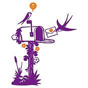 Vinilo Aves Y Cartas Morado, Naranja Medida G