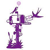 Vinilo Aves Y Cartas Morado, Rosado Medida P