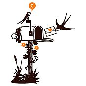 Vinilo Aves Y Cartas Negro, Naranja Medida P