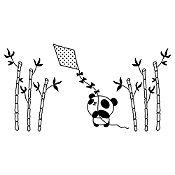 Vinilo Panda Y Cometa Negro Medida M