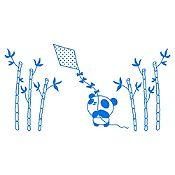 Vinilo Panda Y Cometa Azul Medio Medida G