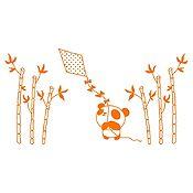 Vinilo Panda Y Cometa Naranja Medida P