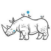Vinilo Rinoceronte Y Aves Gris Oscuro, Azul Claro Medida P