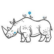 Vinilo Rinoceronte Y Aves Gris Oscuro, Azul Claro Medida M