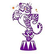 Vinilo Tigre de Circo Morado, Naranja Medida P
