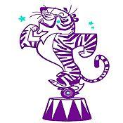 Vinilo Tigre de Circo Morado, Menta Medida P