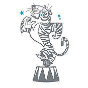 Vinilo Tigre de Circo Gris Oscuro, Azul Claro Medida G