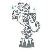 Vinilo Tigre de Circo Gris Oscuro, Menta Medida G