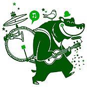 Vinilo Oso Músico Verde Oscuro, Verde Claro Medida M