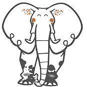 Vinilo Elefante del Zoológico Gris Oscuro, Naranja Medida G