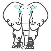 Vinilo Elefante del Zoológico Gris Oscuro, Menta Medida M