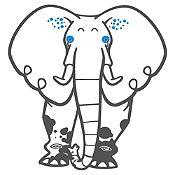 Vinilo Elefante del Zoológico Gris Oscuro, Azul Medio Medida P