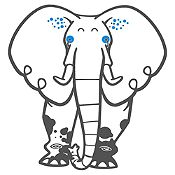Vinilo Elefante del Zoológico Gris Oscuro, Azul Medio Medida G