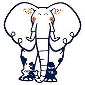 Vinilo Elefante del Zoológico Azul Oscuro, Naranja Medida M