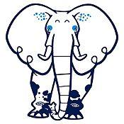 Vinilo Elefante del Zoológico Azul Oscuro, Azul Claro Medida G